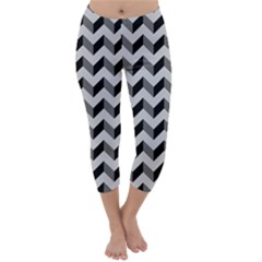 Modern Retro Chevron Patchwork Pattern  Capri Winter Leggings