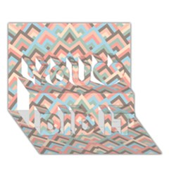 Trendy Chic Modern Chevron Pattern You Did It 3d Greeting Card (7x5)