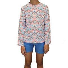 Trendy Chic Modern Chevron Pattern Kid s Long Sleeve Swimwear