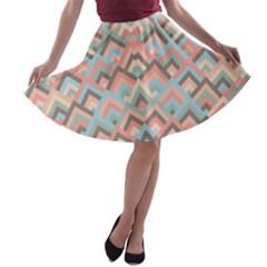 Trendy Chic Modern Chevron Pattern A-line Skater Skirt