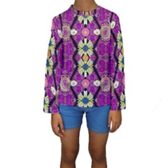 Rose Mandala  Kid s Long Sleeve Swimwear