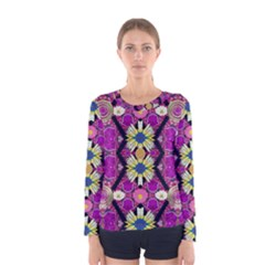 Rose Mandala  Women s Long Sleeve T Shirts