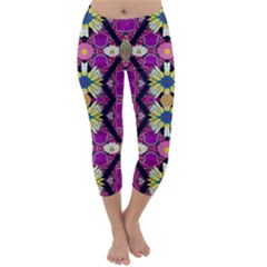 Rose Mandala  Capri Winter Leggings