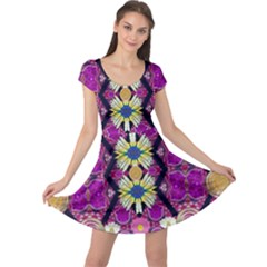 rose mandala  Cap Sleeve Dresses