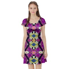 rose mandala  Short Sleeve Skater Dresses