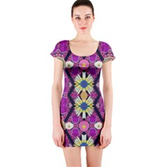 Rose Mandala  Short Sleeve Bodycon Dresses