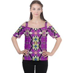 rose mandala  Women s Cutout Shoulder Tee