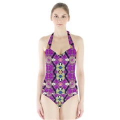 rose mandala  Women s Halter One Piece Swimsuit