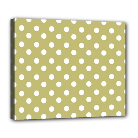 Lime Green Polka Dots Deluxe Canvas 24  x 20