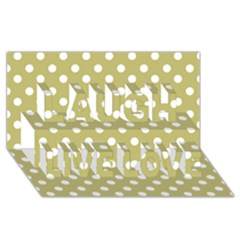 Lime Green Polka Dots Laugh Live Love 3d Greeting Card (8x4)