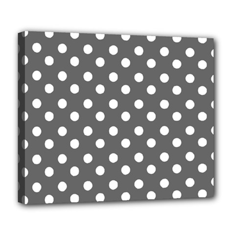 Gray Polka Dots Deluxe Canvas 24  x 20
