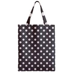 Gray Polka Dots Zipper Classic Tote Bags