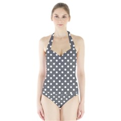 Gray Polka Dots Women s Halter One Piece Swimsuit