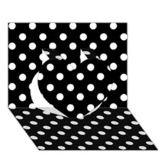 Black And White Polka Dots Heart 3d Greeting Card (7x5)