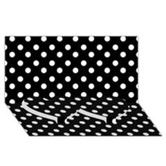Black And White Polka Dots Twin Heart Bottom 3d Greeting Card (8x4)
