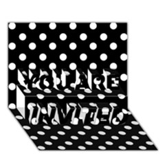 Black And White Polka Dots YOU ARE INVITED 3D Greeting Card (7x5)