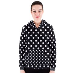 Black And White Polka Dots Women s Zipper Hoodies