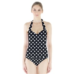 Black And White Polka Dots Women s Halter One Piece Swimsuit