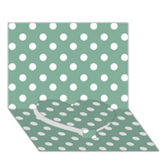 Mint Green Polka Dots Heart Bottom 3d Greeting Card (7x5)