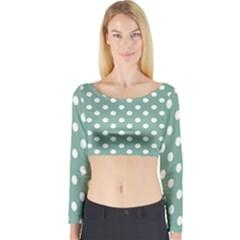 Mint Green Polka Dots Long Sleeve Crop Top