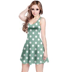 Mint Green Polka Dots Reversible Sleeveless Dresses