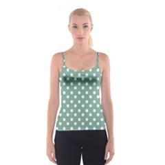 Mint Green Polka Dots Spaghetti Strap Tops