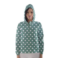 Mint Green Polka Dots Hooded Wind Breaker (women)