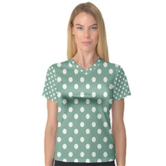Mint Green Polka Dots Women s V Neck Sport Mesh Tee