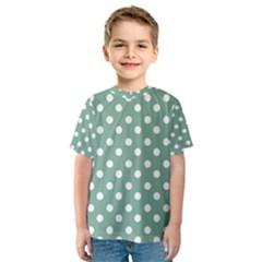Mint Green Polka Dots Kid s Sport Mesh Tees