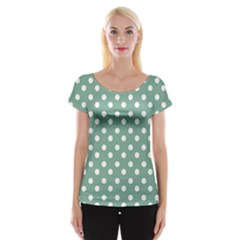 Mint Green Polka Dots Women s Cap Sleeve Top