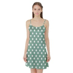 Mint Green Polka Dots Satin Night Slip