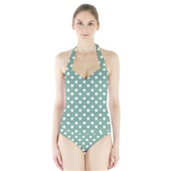 Mint Green Polka Dots Women s Halter One Piece Swimsuit