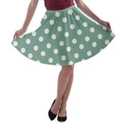 Mint Green Polka Dots A-line Skater Skirt