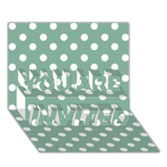 Mint Green Polka Dots YOU ARE INVITED 3D Greeting Card (7x5)