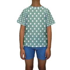 Mint Green Polka Dots Kid s Short Sleeve Swimwear