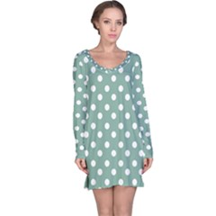 Mint Green Polka Dots Long Sleeve Nightdresses