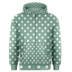Mint Green Polka Dots Men s Zipper Hoodies