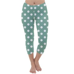Mint Green Polka Dots Capri Winter Leggings