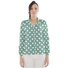 Mint Green Polka Dots Wind Breaker (Women)