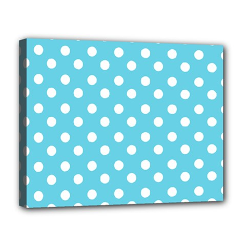 Sky Blue Polka Dots Canvas 14  X 11