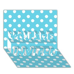 Sky Blue Polka Dots You Are Invited 3d Greeting Card (7x5)