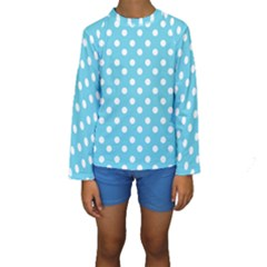 Sky Blue Polka Dots Kid s Long Sleeve Swimwear