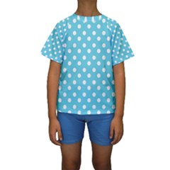 Sky Blue Polka Dots Kid s Short Sleeve Swimwear