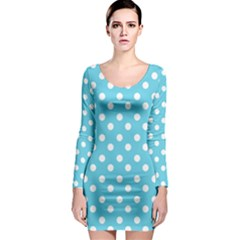 Sky Blue Polka Dots Long Sleeve Bodycon Dresses