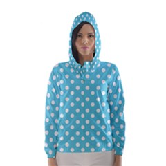 Sky Blue Polka Dots Hooded Wind Breaker (Women)