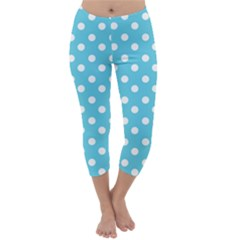 Sky Blue Polka Dots Capri Winter Leggings