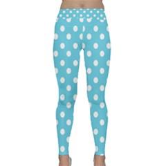 Sky Blue Polka Dots Yoga Leggings