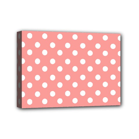 Coral And White Polka Dots Mini Canvas 7  x 5