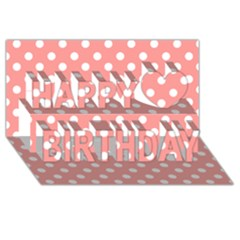 Coral And White Polka Dots Happy Birthday 3d Greeting Card (8x4)