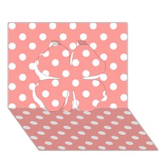 Coral And White Polka Dots Clover 3D Greeting Card (7x5)